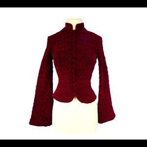 Cache Burgundy Textured Chenille Velvet Jacket 6